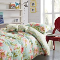 Charming Light Blue and Pink Floral Cotton Bedding Set ...