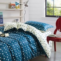 Stylish Stars Blue and White Cotton Bedding Set