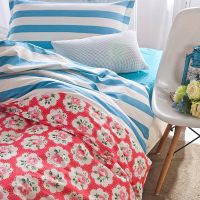 Sultry Red and Blue Floral Cotton Bedding Set | EBeddingSets