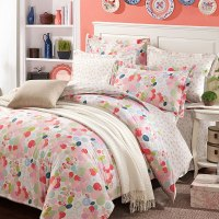Beautiful White And Pink Cotton Bedding Set | EBeddingSets