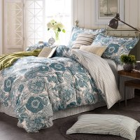 Light Blue And White Floral Cotton Bedding Set | EBeddingSets