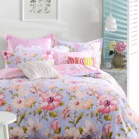 Light Blue and Pink Floral Cotton Bedding set | EBeddingSets