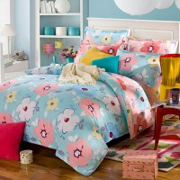 Pretty Pink And Light Blue Floral Cotton Bedding Set ...