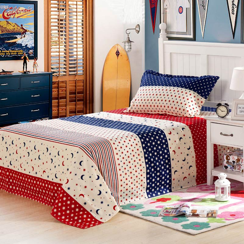 Star and Moon themed Blue and Red Cotton Bedding Set
