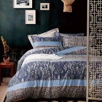 Trendy Grey Blue And Purple Blue Cotton Bedding Set ...