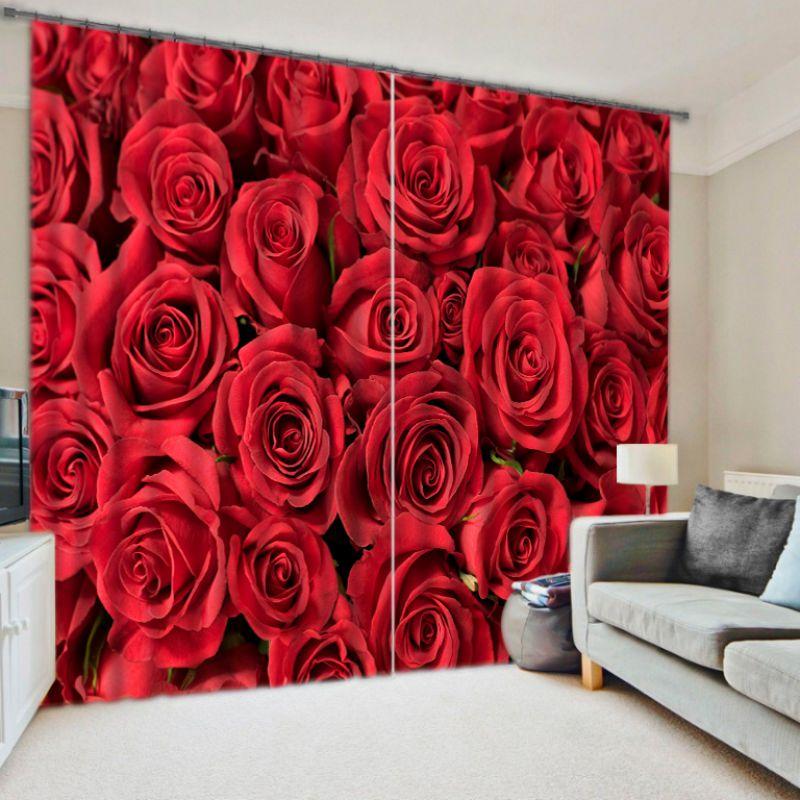 print sofa set destination tri fold reviews charming red rose curtain | ebeddingsets
