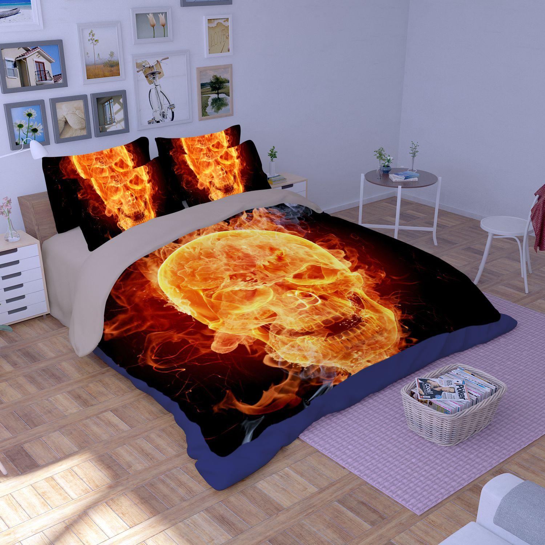 3D Flaming Skull Printed Bedding Set EBeddingSets