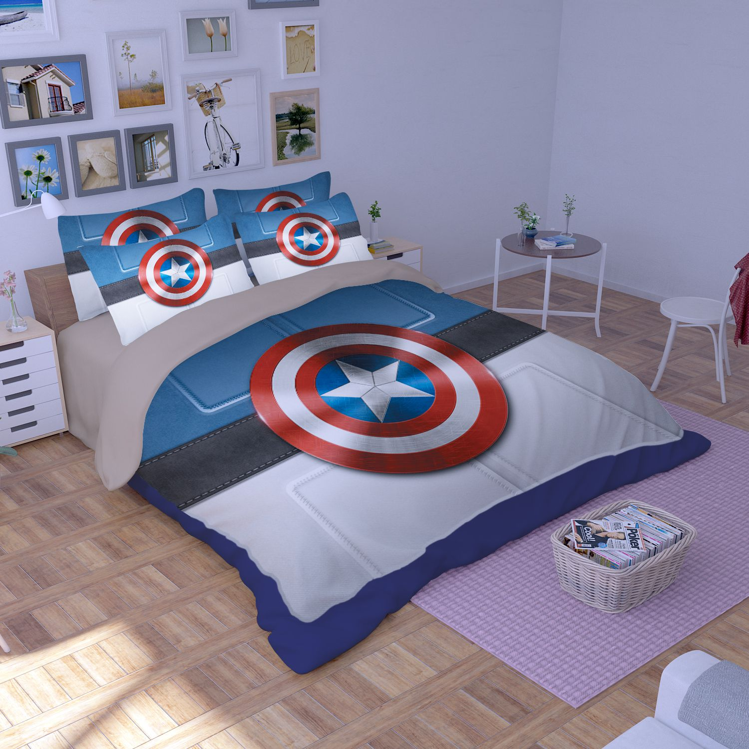 captain america table and chair set white resin wicker chairs shield bedding ebeddingsets