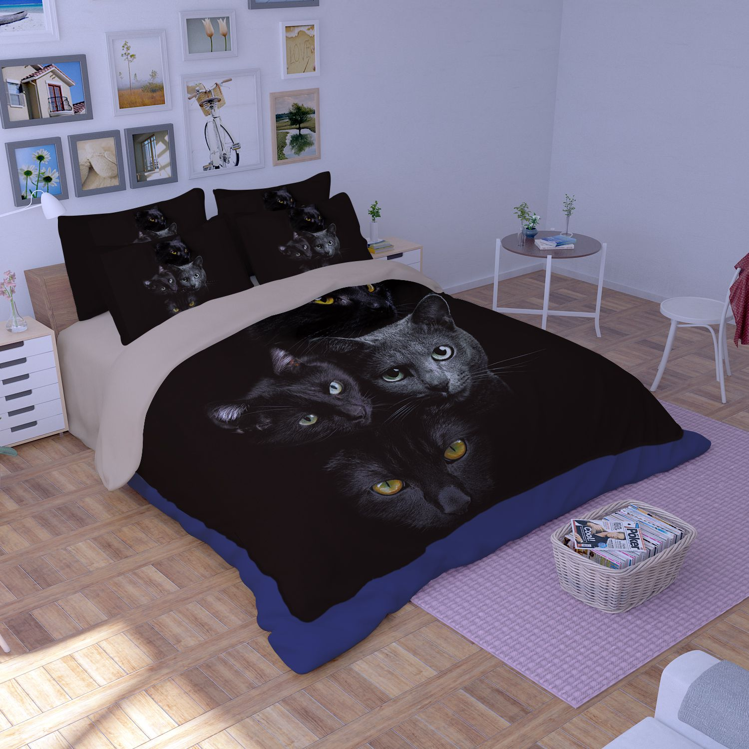 fast table chair infant feeding hd black cat faces printed bedding set | ebeddingsets