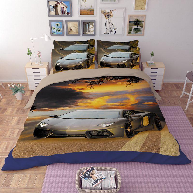 chair covers material blue club lamborghini aventador car printed bedding set | ebeddingsets