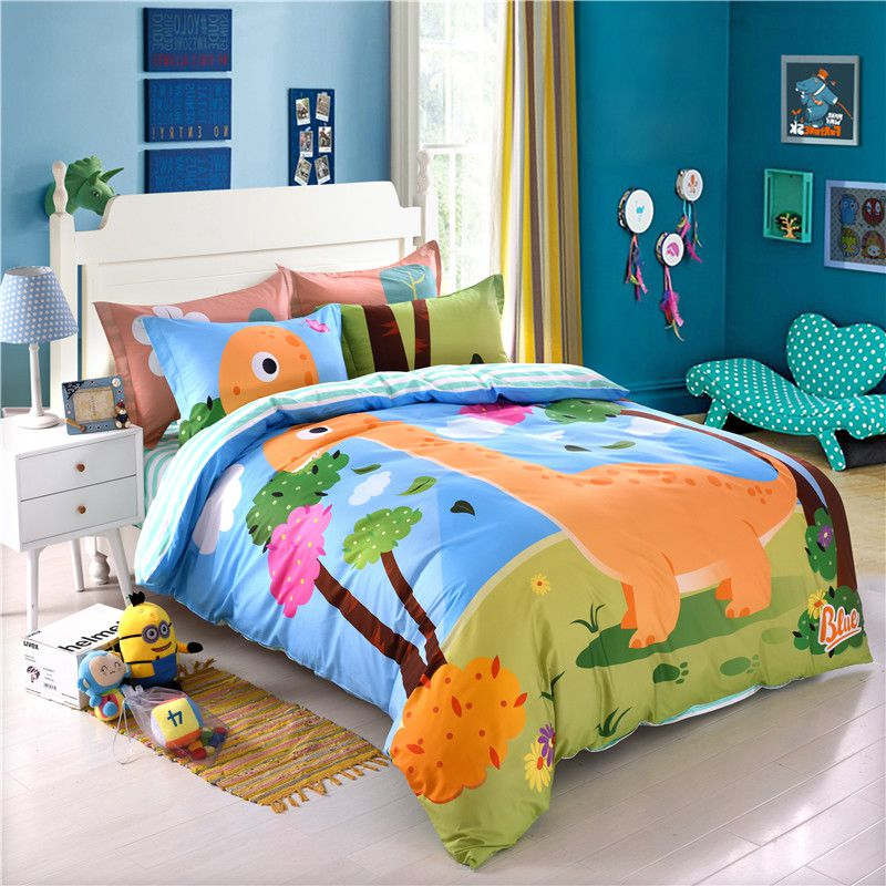 Kids Dinosaur Print Bedding Set Twin Queen Size LL