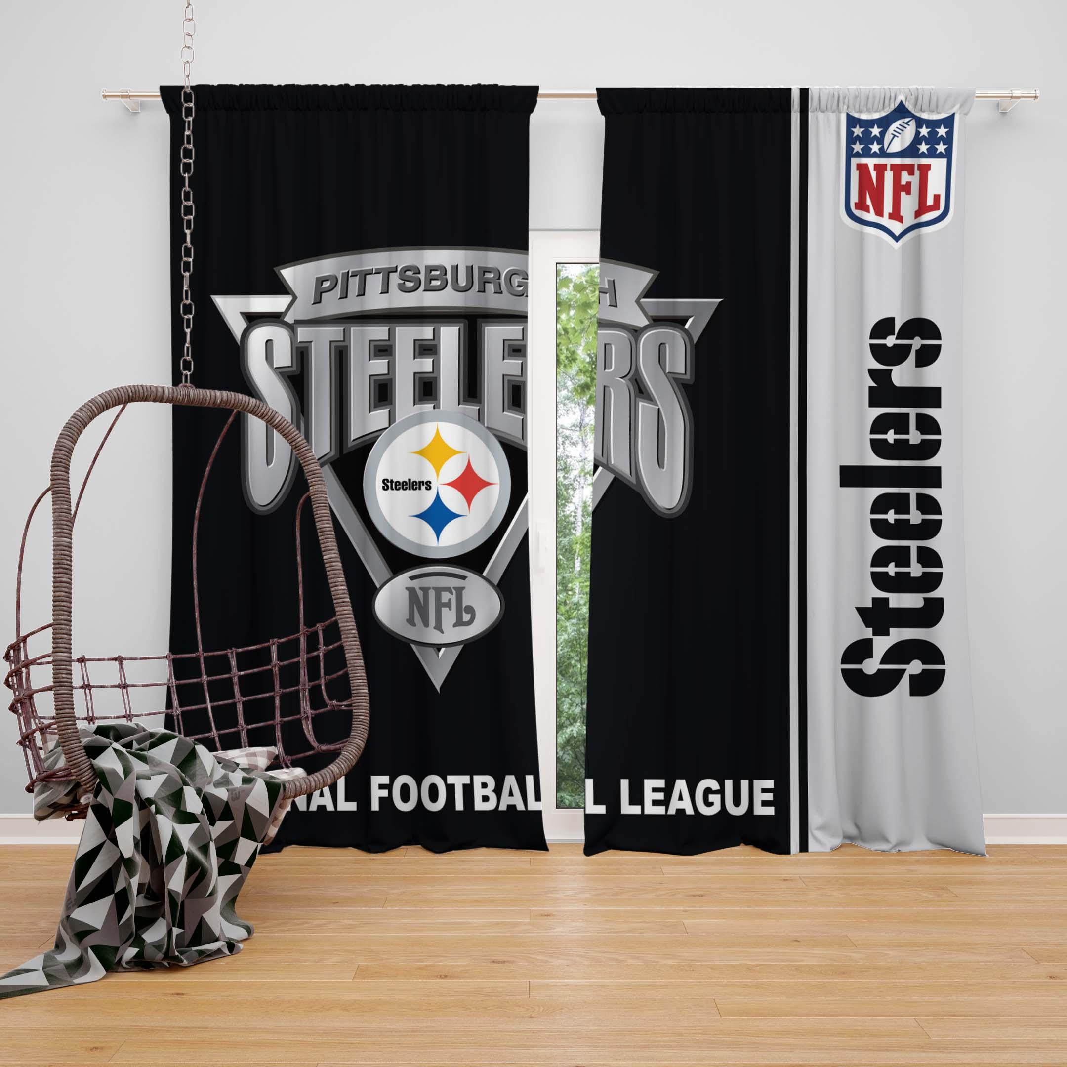 nfl pittsburgh steelers bedroom curtain