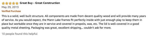 Mann Lake 10 Frame Complete Bee Box Kit Review Testimonial