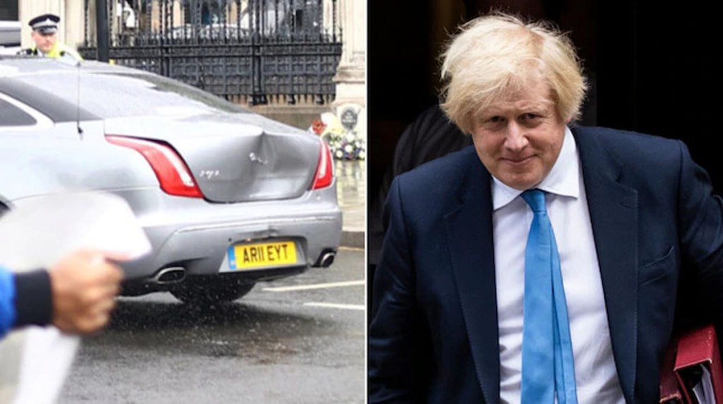 UK Prime Minister Boris Johnson involved in a car accident outside Parliament