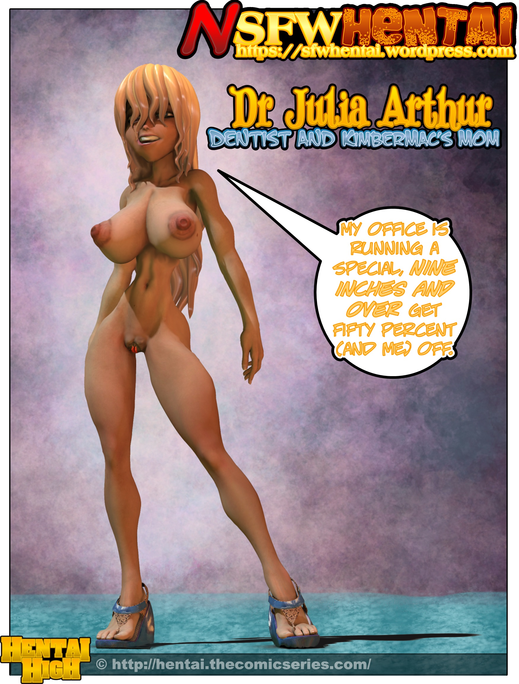 NSFW big tits hentai art of Hentai High big breasted MILF dentist Julia Arthur.