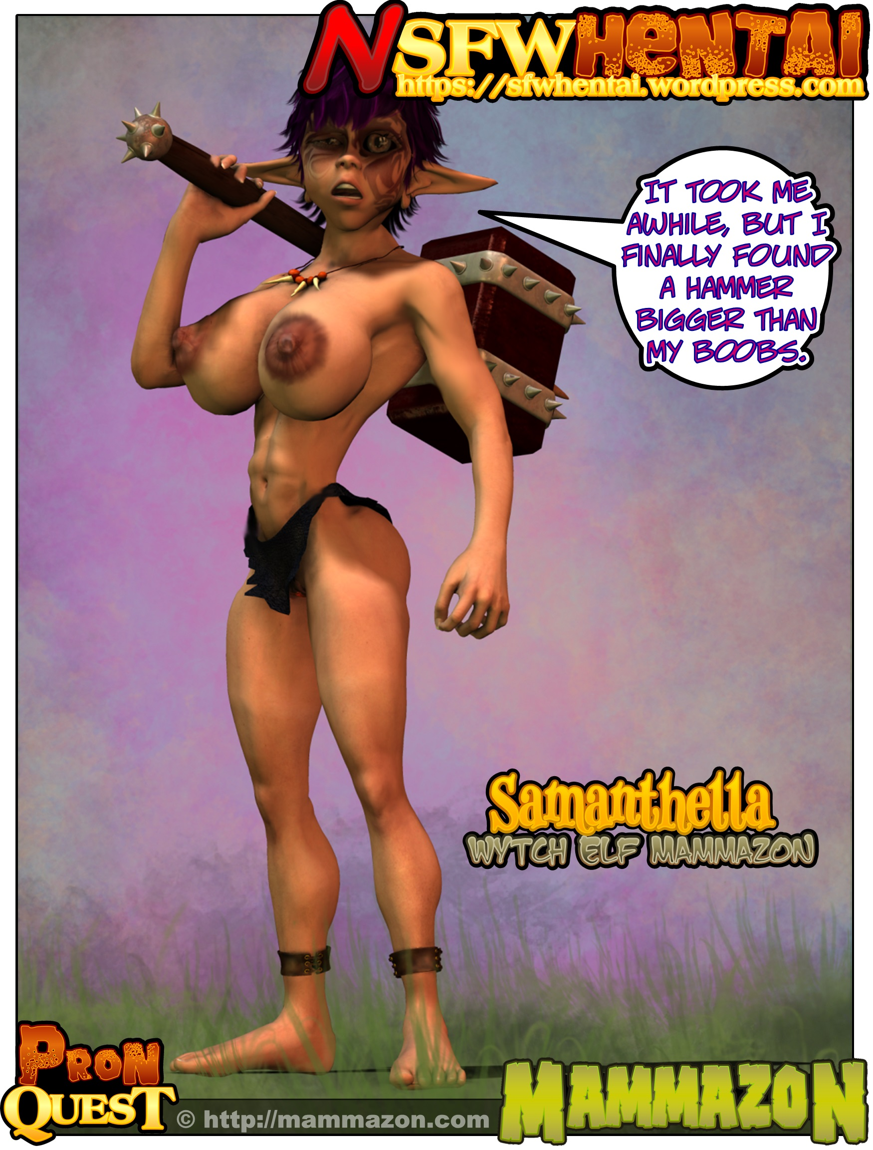 NSFW Big Tits Witch Elf Samanthella in Warhammer Fantasy Battles Parody Mammazon.