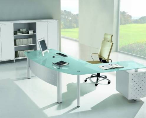 Bureau de direction clair en verre contemporain