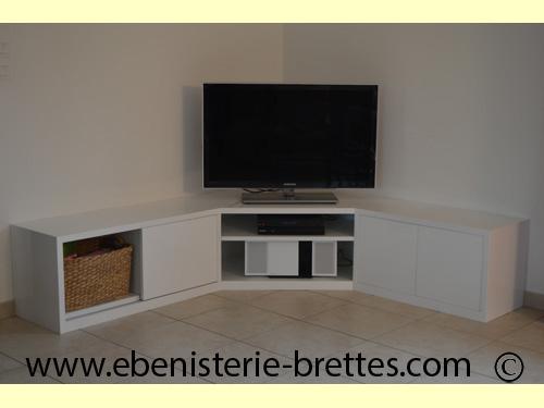meuble tv en angle blanc fabrique et