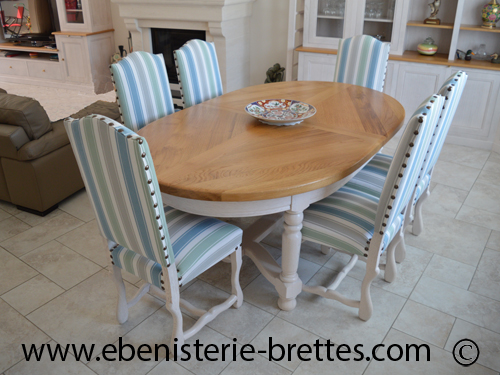 table ovale blanche et chene extensible
