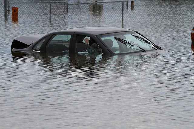 car in a flood