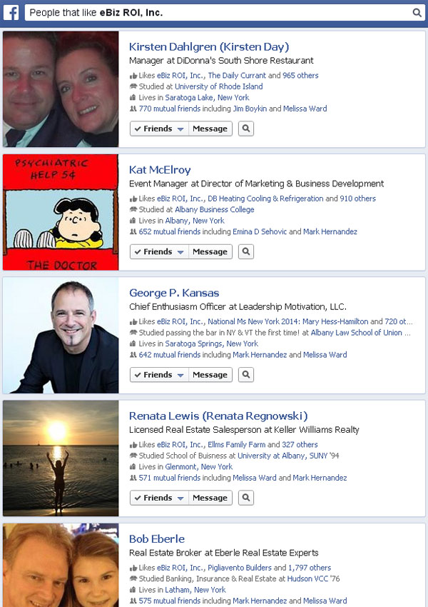 Facebook Graph Search Results for people who like eBiz ROI Inc
