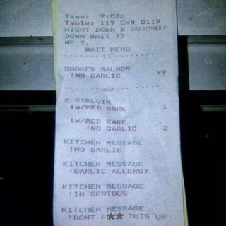 Food Allergy Restaurant Receipt