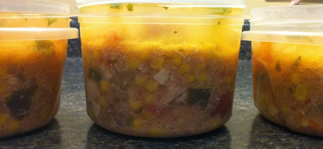 Slow Cooker Chicken Tortilla Soup ready for the freezer
