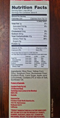 Freedom Foods: Ancient Grain Flakes Nutritional Info and Ingredients