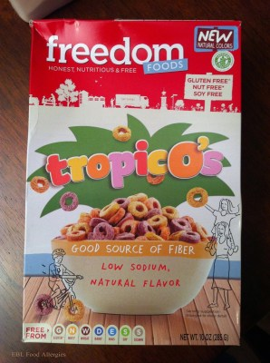 Freedom Foods: TropicO's Cereal, allergy friendly, no dyes!
