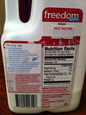 Freedom Foods: Pancake Mix Nutritional Info and Ingredients