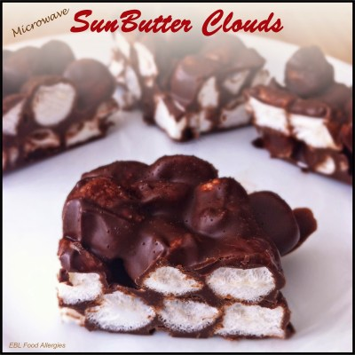Microwave SunButter Clouds, only three ingredients!  Chocolate, SunButter, and Marshmallows!  SOOOO easy! I have to try this!