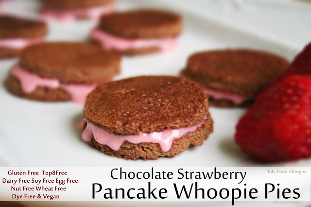 Chocolate Strawberry Pancake Whoopie Pies #tothefullest #top8free #glutenfree #vegan
