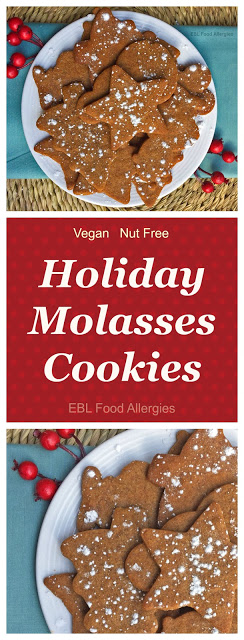 Simple Holiday Molasses Cookies, vegan (dairy, egg, soy, and nut free)