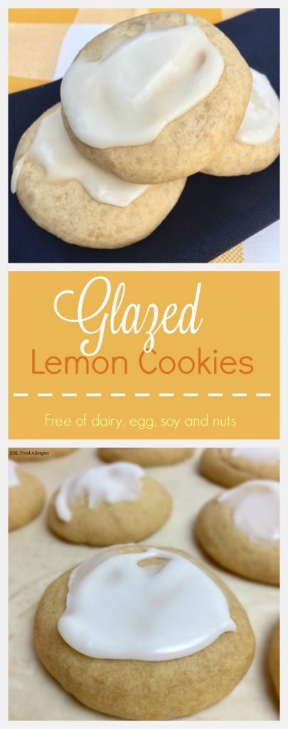 Glazed Lemon Cookie, free of dairy, egg, soy and nuts