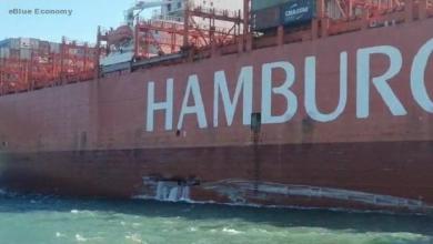 eBlue_economy_Hamburg Süd containership Cap San Antonio allides with Santos landing pontoon (Video)