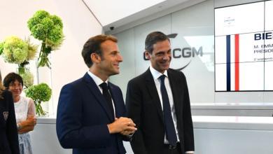 eBlue_economy_ French President Macron visits CMA CGM's headquarters in Marseille
