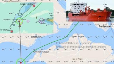 eBlue_economy_Dutch tanker aground off Isle of Wight, UK
