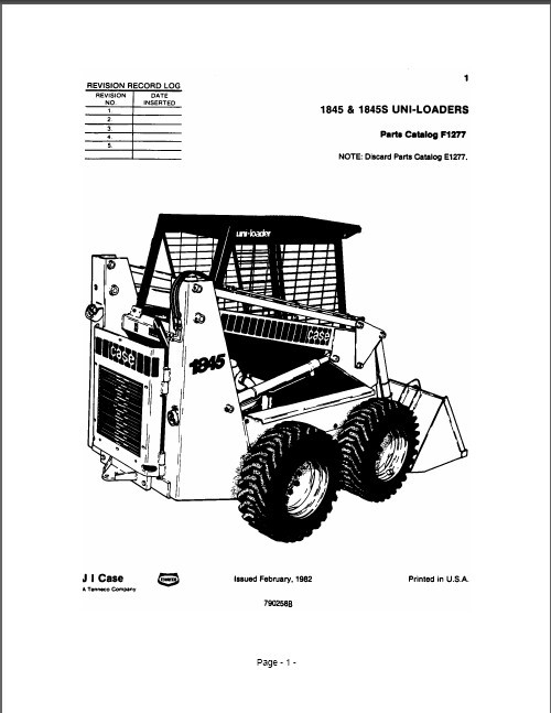 eBlueJay: Case 1845 & 1845S Skid Steer Loader Parts Manual