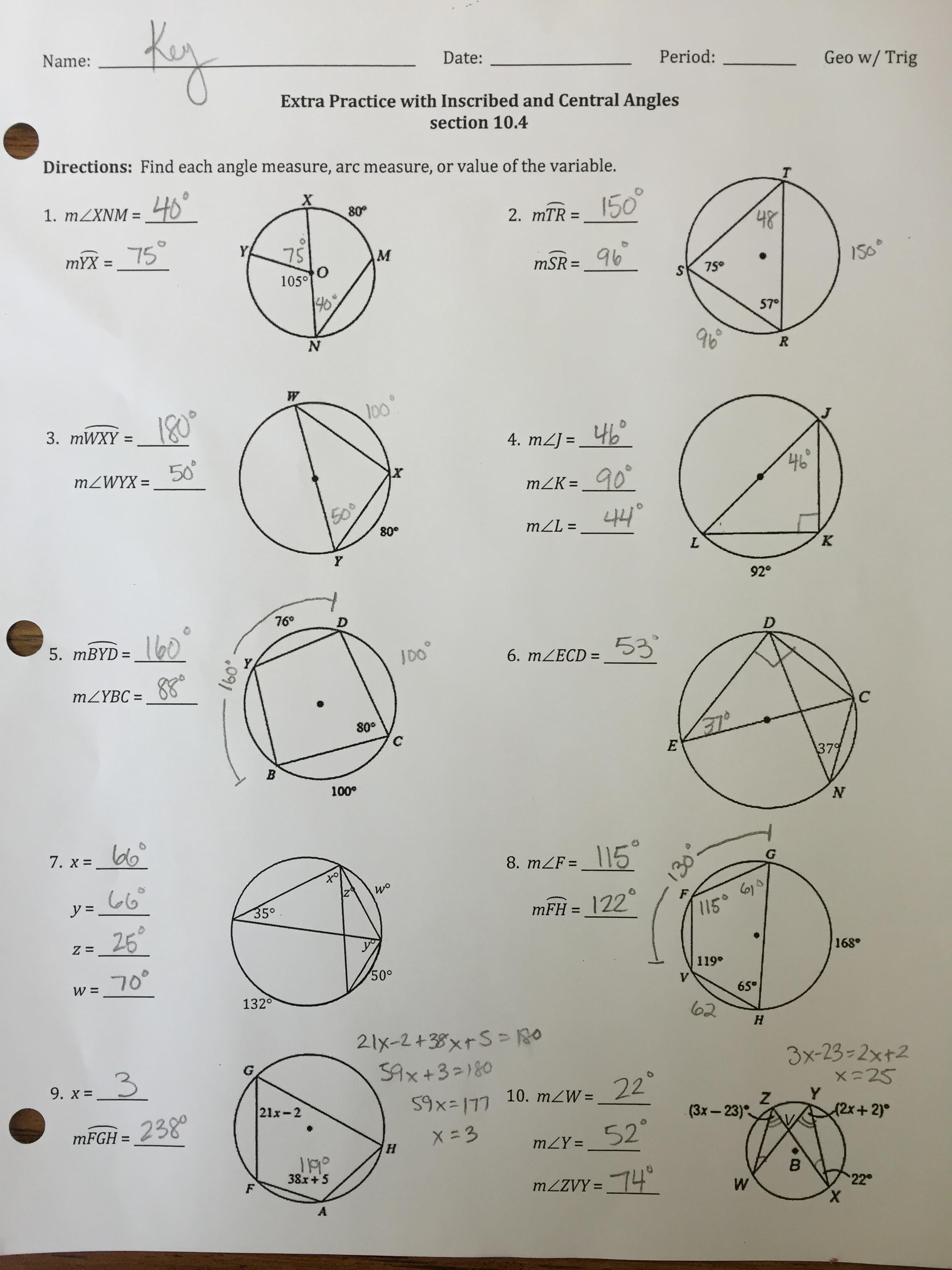 32 Inscribed Angle Practice Worksheet