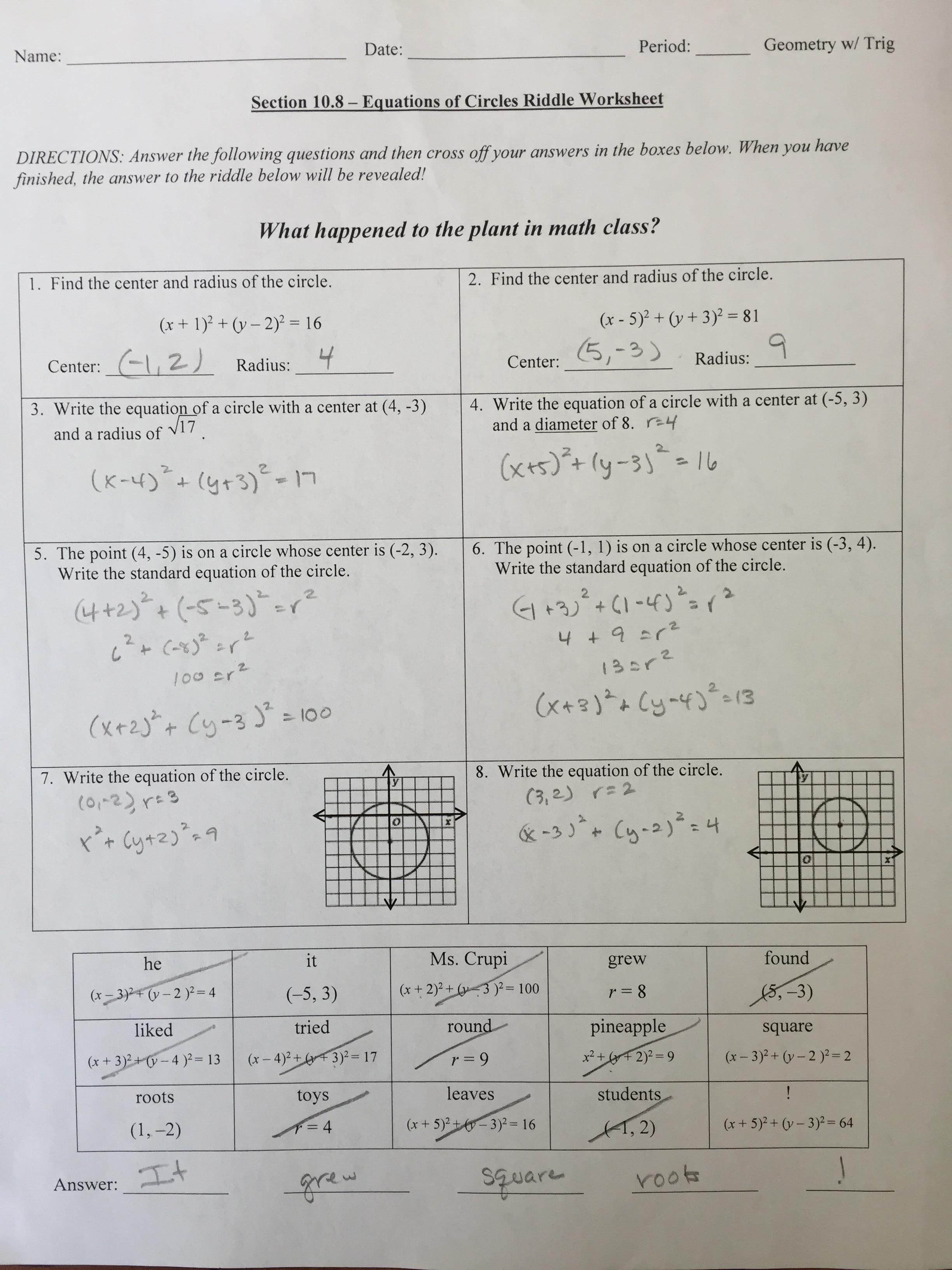 Equation Of A Circle Practice Worksheet Answers