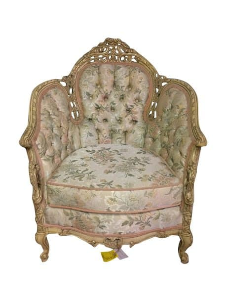 Vintage French Style Tufted Tub Chairs Sold  Bohemians