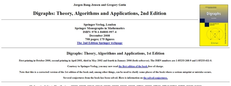 Digraphs: Theory, Algorithms and Applications, 1st Edition  by Jørgen Bang-Jensen and Gregory Gutin