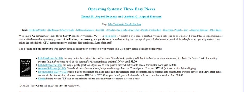 Operating Systems: Three Easy Pieces by Remzi H. Arpaci-Dusseau, Andrea C. Arpaci-Dusseau