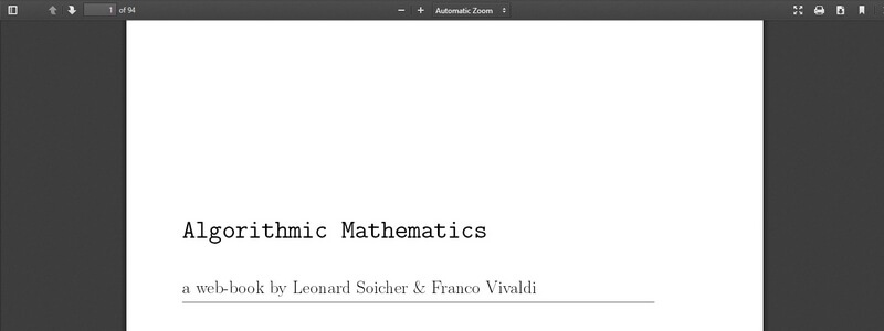 Algorithmic Mathematics  by Leonard Soicher & Franco Vivaldi