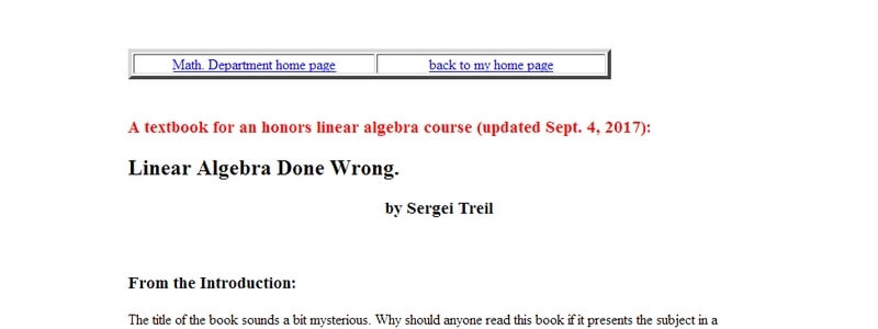 Linear Algebra Done Wrong by Sergei Treil