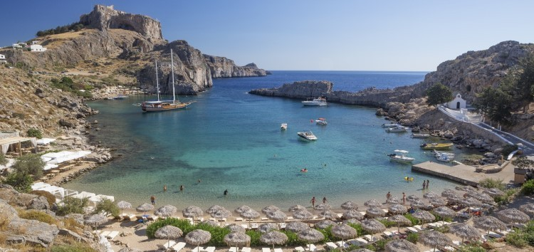 Greek bay and beach, sustainable tourism