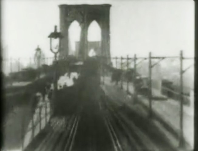Constructed in 1883, the Brooklyn Bridge, was once the longest suspension bridge in the world. In 1899, Thomas Edison filmed this train ride across the East River