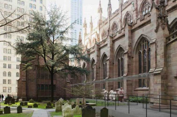 An architectural team overseeing the restoration of Trinity Church is proposing the addition of a 91-foot long glass and metal canopy to the building's south facade,which Community Board 1 views as detracting from the structure's historic character.