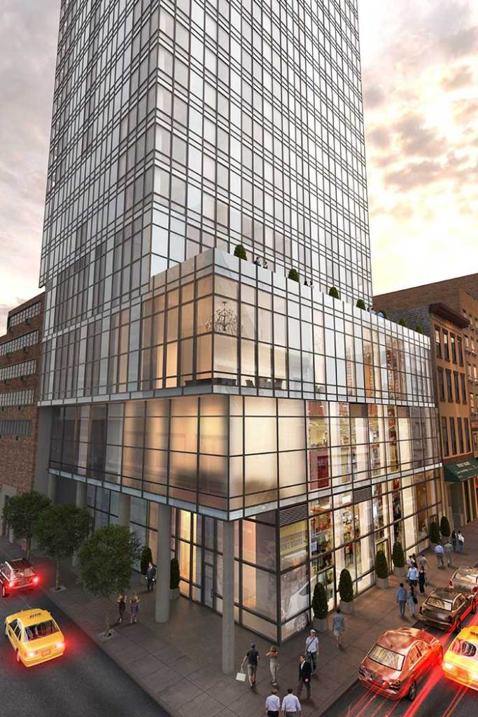 The new luxury building at 118 Fulton Street (between Nassau and Dutch Streets) will contain 483 apartments, 97 of which will be set aside for affordability protections.