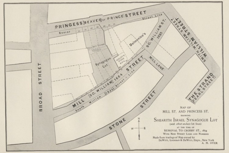 This map from 1900 attempts to recreate the location of the Mill Street Synagogue by combing tracings of earlier maps (from the 1700 and 1800s) with a superimposed view of the then-contemporary street grid.